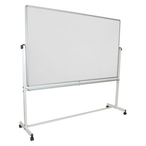 "Offex 84""Wx77.75""H Double Sided Mobile White Board With Pen Tray"