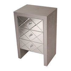 3-Drawer Mirror Front Accent Cabinet MDF Wood Mirrored Glass Silver
