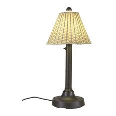 "Tahiti II Table Lamp, Tight Weave, Flat Wicker, Stone Shade, 2"" Bronze Tube Body"