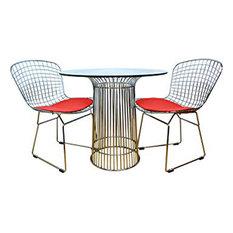 Modern Chromed Steel 3-Piece Dining Set, Red