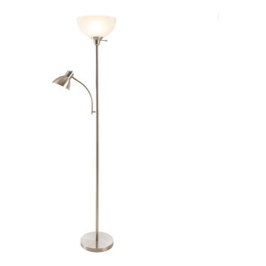 2 Headed Torchiere Floor Lamp with Frosted Glass Shade by Lavish Home, Satin Nic