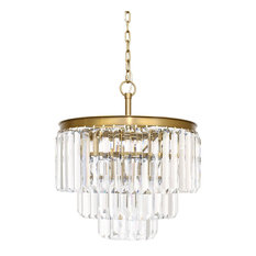 "Francis 19"" Round x 22""High Gold Chandelier With Crystal"