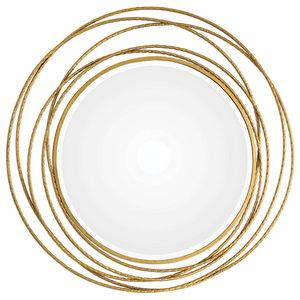 60e89e566d49 Gold Swirl Rings Modern Wall Mirror