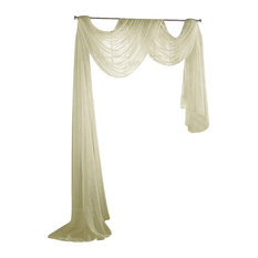 """Sally Textiles - Sheer Voile 216"""" Long Window Scarf Swag - Valances"""