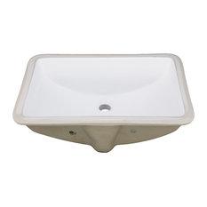 "Vanity Fantasies ""Trench"" Porcelain Rectangular Undermount Vanity Sink, White"