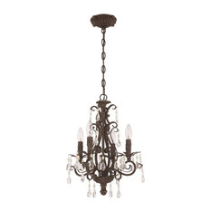 Englewood 4-Light Mini Chandelier, French Roast, Clear Crystal