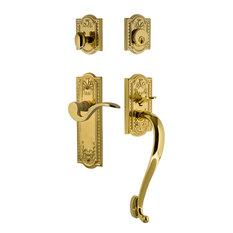 "Meadows Plate S Grip Entry Set Manor Lever, Lifetime Brass, 2-3/8"", Left"