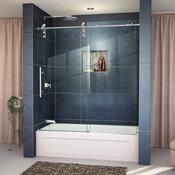 DreamLine Frameless Sliding Tub Door Clear Glass Door Polished Stainless Steel
