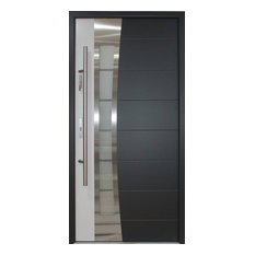 Incroyable Stainless Steel Modern Entry Door, Gray And White Finish, Right Hand Inswing