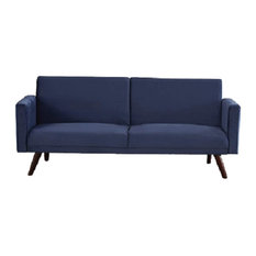 Modern Futon Sofa, Retro Design With Velvet Upholstery and Split Backrest, Dark