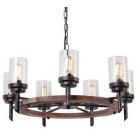 7-Lights Metal Wood Pendant Lamp With Glass Shade Retro Rustic Antique
