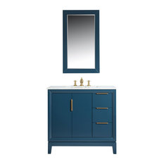 "Elizabeth 36"" Single Sink Carrara White Marble Vanity, Monarch Blue"