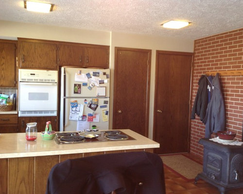 Pecan Mission Style Cabinets with Quartz Countertop ...
