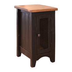 Greenview Solid Pine Black Side Table With One Mash Doors