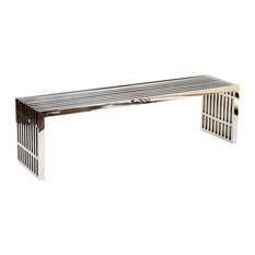 Gridiron Large Stainless Steel Bench, Silver