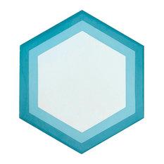 Blue Hexagon Geometric Pattern Cement Tile, Set of 13, 8x8