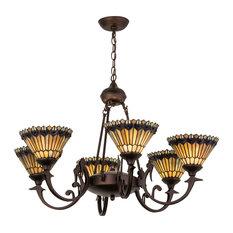 "33"" Tiffany Jeweled Peacock 6-Light Chandelier"