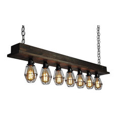 7 Light Beam Chandelier, With Cages, With Led Bulbs, Suspended