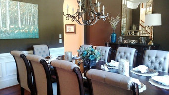 Colorful Teal-Turquoise and Brown Dining Room