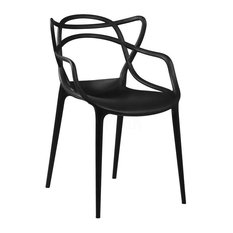 Masters Stackable Modern Dining Chair Set Of 4 Black