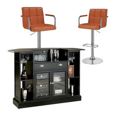 3 Piece Pub Set with Home Bar and (Set of 2) Bar Stools