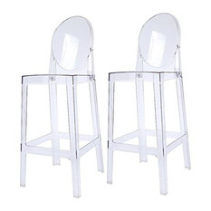 Designer Counter Height Stool With Solid High Back Side Chair Footrest, Clear, S