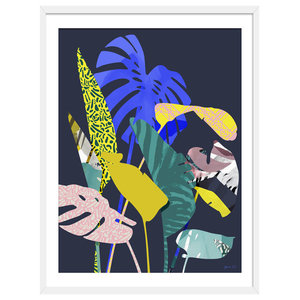 """Carnival Is Coming"" Tropical Art Print, White Framed, 50x70 cm"