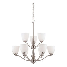 Patton 9 Light LED Brushed Nickel And Frosted Glass Chandelier