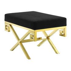 Velvet Bench, Gold and Black