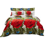Dolce Mela - Duvet Cover Set, 6-Piece Fitted Sheet Bedding Set in Gift Pack, Queen - Bring a whole new look to your bedroom with this vibrant Romeo floral design.
