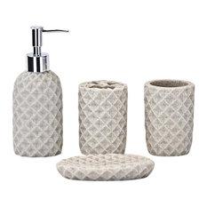4-Piece Bathroom Accessories Set, Cream