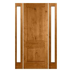 "Knotty Alder Square Top Door, 2 Sidelites, L-Hand, Unfinished, 70"" X 96"" X 1-3/4"