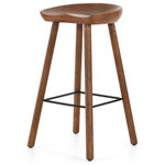 Marco Polo Imports - Bryan Bar Stool - Mid-century style sculpted for modern comfort. Clean-edged seating is crafted from rich parawood, black iron stretchers add an updated touch to this simply styled bar stool.