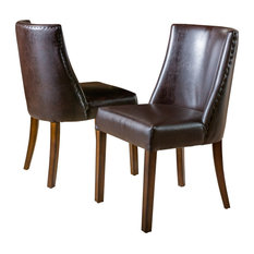 GDF Studio Rydel Dining Chairs, Brown Leather, Set of 2