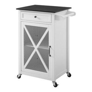 Linon Westgate Kitchen Cart Ez Assembly In White