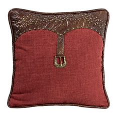 Square Red Pillow with Leather Scalloped Edges