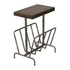 Industrial End Table Brushed Metal Base With Magazine Rack Walnut