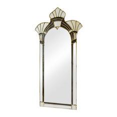 Amelia Original Handcrafted Art Deco Wall Mirror, Black and Cream, 60x110 Cm
