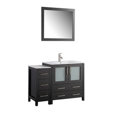 "Vanity Art Single-Sink Vanity Set With Ceramic Top, 42"", Espresso"