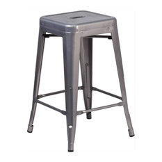 """24"""" Clear Backless Metal Stool"""