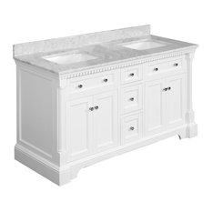 "Sydney Bath Vanity, White, 60"", Carrara Marble, Double Sink"