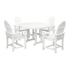 Polywood Classic Adirondack Dining 5-Piece Set, White