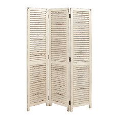 Simple and Rustic Wood 3 Panel White Screen