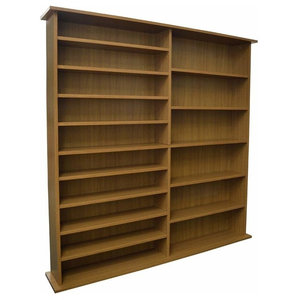 Modern Book Storage Shelves, Oak Finished Particle Board With 16-Compartment