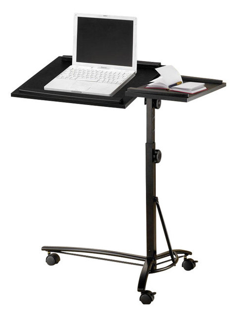 Small Smart Adjule Height Swivel Top Black Computer Desk Mobile