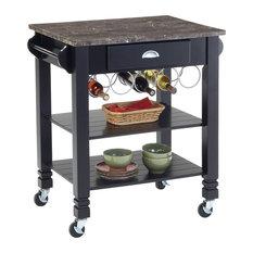 Bernards Furniture   Oak Caster Faux Marble Kitchen Island, Black/Emperador Marble  Top