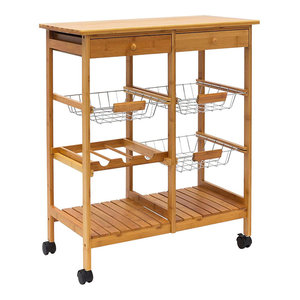Traditional Serving Trolley Cart, Natural Bamboo Wood With 2 Small Drawers