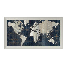 """Framed Print 'Old World Map Blue' by Wild Apple Portfolio, Outer Size 43""""x24"""""""