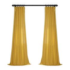 "FauxLinen Semi Sheer Single Panel Curtain, Buttercup Gold, 50""x108"""