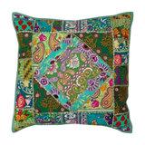 Boho Patchwork Cushion, Green, Filled